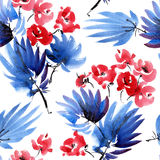 Red flowers pattern. Red flowers and dark blue leaves. Watercolor and ink painting in style gohua, sumi-e, u-sin. Oriental traditional painting. Seamless pattern Stock Image