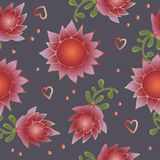 Red flowers in pattern. For Easter Stock Image