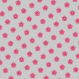 Red flowers pattern. Hand drawnd red flowers pattern on light grey background Royalty Free Stock Image