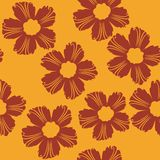 Red flowers pattern on orange background. Easy art illustration Royalty Free Stock Photo