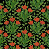 Red flowers pattern. Seamless pattern with red flowers Stock Photos