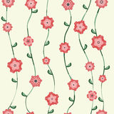 Red flowers pattern with stalk and leaves Royalty Free Stock Photos
