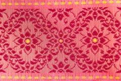 Red Flowers Pattern Thai Silk Royalty Free Stock Photo