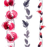 Red flowers pattern. Watercolor and ink illustration of red flowers, buds and leaves. Oriental traditional painting in style sumi-e, gohua. Decorative seamless Royalty Free Stock Photos