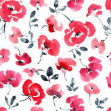 Red flowers pattern. Watercolor and ink illustration of red flowers and leaves Stock Images