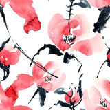 Red flowers pattern. Watercolor and ink illustration of red flowers in style sumi-e, u-sin. Oriental traditional painting.  Seamless pattern Royalty Free Stock Image