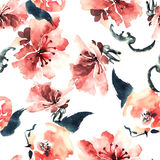 Red flowers pattern. Watercolor and ink illustration of flowers in style sumi-e, u-sin. Oriental traditional painting.  Seamless pattern Royalty Free Stock Photos