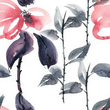 Red flowers pattern. Watercolor and ink illustration of red flowers in style sumi-e, u-sin. Oriental traditional painting.  Seamless pattern Stock Photos