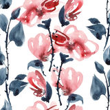 Red flowers pattern. Watercolor and ink illustration of red flowers in style sumi-e, u-sin. Oriental traditional painting.  Seamless pattern Royalty Free Stock Images