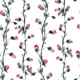 Red flowers pattern. Watercolor and ink illustration of red flowers in style sumi-e, u-sin. Oriental traditional painting.  Seamless pattern Royalty Free Stock Photography
