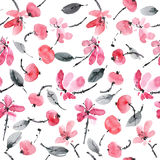 Red flowers pattern. Watercolor and ink illustration of red flowers. Sumi-e, u-sin painting. Seamless pattern Stock Photography