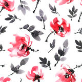 Red flowers pattern. Watercolor and ink illustration of red flowers. Sumi-e, u-sin painting. Seamless pattern Stock Image