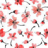 Red flowers pattern. Watercolor and ink illustration of red flowers. Sumi-e, u-sin painting. Seamless pattern Royalty Free Stock Photo