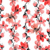 Red flowers pattern. Watercolor and ink illustration of red flowers. Sumi-e, u-sin painting. Seamless pattern Stock Images