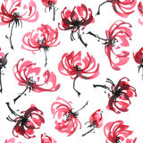 Red flowers pattern. Watercolor and ink illustration of red flowers. Sumi-e, u-sin painting. Seamless pattern Stock Photos