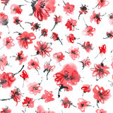Red flowers pattern. Watercolor and ink illustration of red flowers. Sumi-e, u-sin painting. Seamless pattern Royalty Free Stock Image