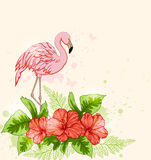 Red flowers and pink flamingo Stock Photography
