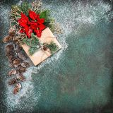 Red flowers poinsettia snow decoration Christmas background. Red flowers poinsettia and snow decoration. Christmas background stock photo