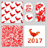 Red flowers and roosters seamless patterns, card, labels, tag. V. Ector set Stock Photos
