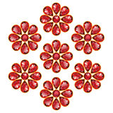 Red Flowers of Rubies Isolated Objects. Pattern of seven red flowers composed of rubies gemstones. Mid flower - round stone, petals in the form of drops Royalty Free Stock Images