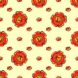 Red flowers seamless pattern background Royalty Free Stock Image