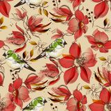 Red flowers seamless pattern and cute birds print. Retro style design stock illustration