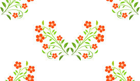 Red flowers seamless pattern on white background Stock Photography