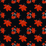 Red flowers seamless vector pattern Royalty Free Stock Photo
