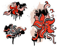 Red flowers. Set grunge design element. Royalty Free Stock Image