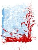 Red flowers & snowflakes Stock Photos