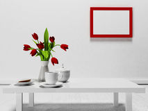 Red flowers on the  table Stock Images