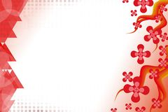 Red flowers and triangle overlap, abstract background Royalty Free Stock Image