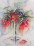 Red flowers in vase handmade watercolor. Red flowers bouquet in vase hand made watercolor. Candle light, romantic Stock Photo
