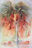 Red flowers in vase watercolor. Red flowers bouquet in vase hand made watercolor. Candle light, romantic Royalty Free Stock Photo