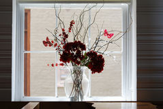Red flowers in a vase in a white framed window in a cafe. Stock Photos