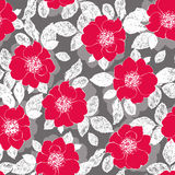 Red flowers. Vector seamless floral pattern with hand drawn flowers Stock Photos