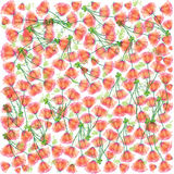 Red flowers vector seamless pattern Stock Images