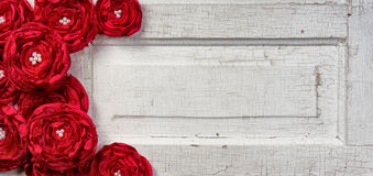 Red flowers on vintage door Stock Image