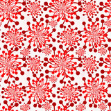 Red Flowers Vintage Wallpaper Seamless Texture Royalty Free Stock Photo