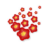Red flowers volumetric composition for card. Stock Images
