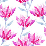 Red flowers watercolor pattern. Royalty Free Stock Photos