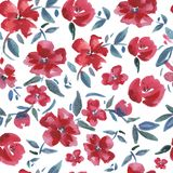 Red flowers. Watercolor seamless pattern. vector illustration