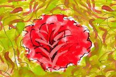 Red flowers. wetercolor drawing Stock Photography