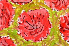Red flowers. wetercolor drawing Royalty Free Stock Photos