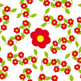 Red Flowers on white background. Vector illustration Stock Photography
