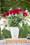 Red flowers in white jug Royalty Free Stock Images