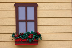 Red Flowers Window and Yellow Wood Wall Royalty Free Stock Photography
