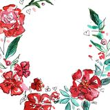 Red flowers wreath. Watercolor illustration. vector illustration
