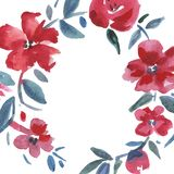 Red flowers wreath. Watercolor illustration. Watercolor flowers frame. royalty free illustration