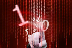 Red Flowing binary code Stock Photos